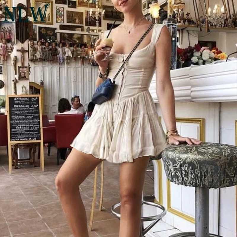 NLW винтажное Плиссированное Короткое платье женское 2019 летнее повседневное черное платье трапециевидной формы без рукавов сексуальное тонкое пляжное вечернее платье Vestido