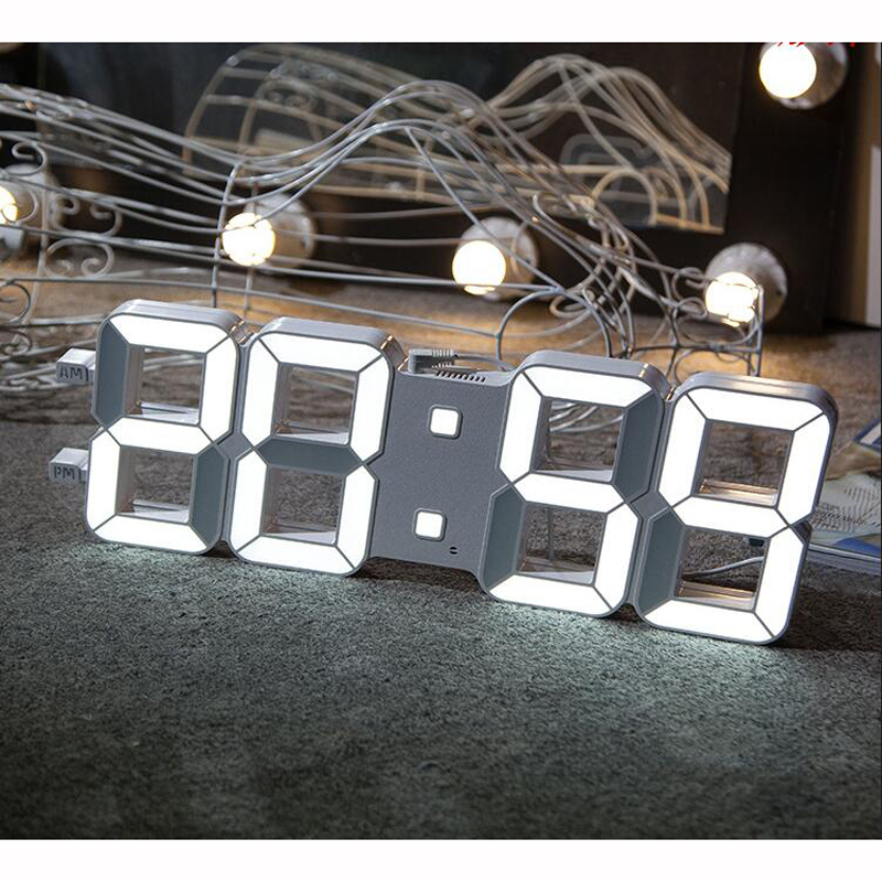 3D LED Digital Wall Clock with Light Sensor Automatically Dimming Large Numerals Highly Visible for Gym Media Room Church White image