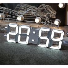 3D светодиодный цифровой настенные часы с легкой Сенсор автоматически затемняя большие цифры весьма заметны для спортзала медиа церкви белый