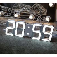 3D LED Digital Wall Clock with Light Sensor Automatically Dimming Large Numerals Highly Visible for Gym Media Room Church White