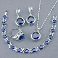Круглый Синий Создания Сапфир Ювелирные Наборы Для Женщин 925 Серебряные Браслеты Ожерелья Серьги Кольца Бесплатный Box