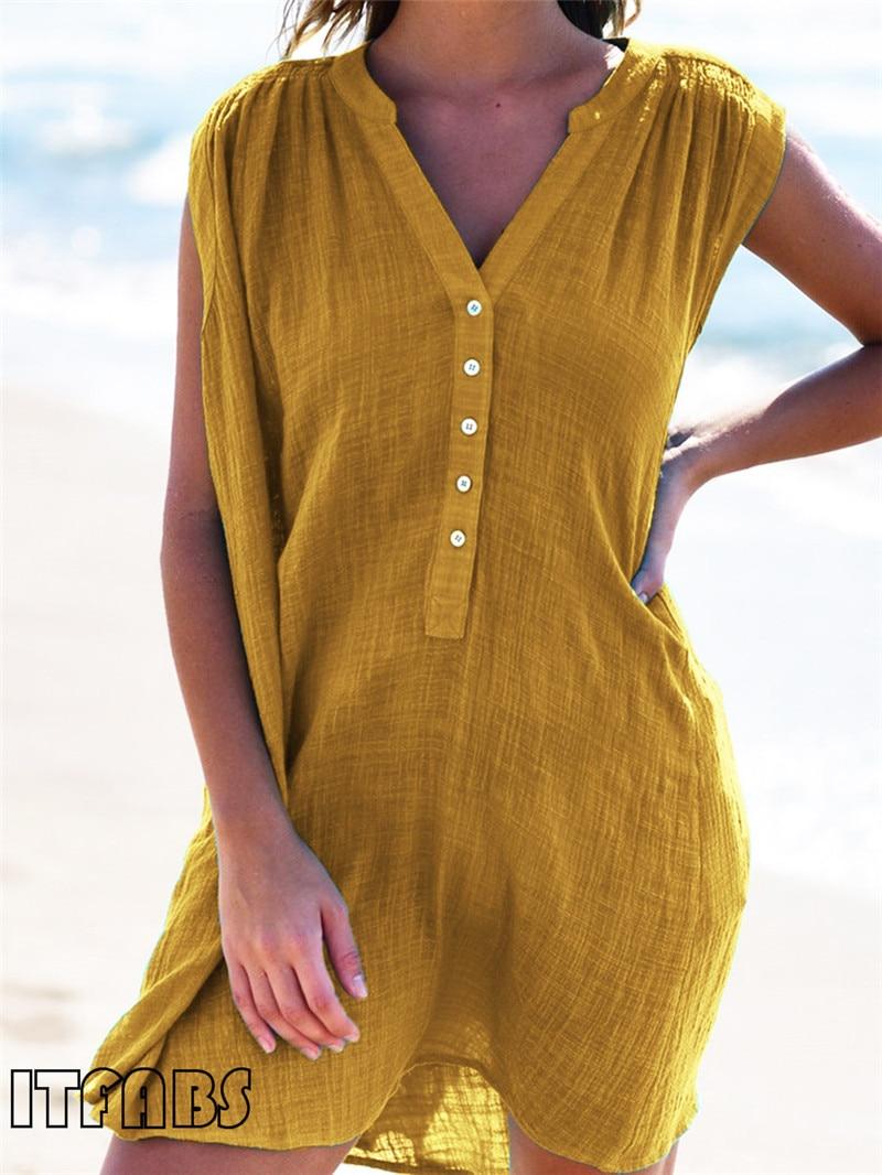 O-Neck Button Mini Dresses For Women Bikini 2019 Solid Sleeveless Beach Dress Women Casual Beach A-Line Dress Sundress Vestidos