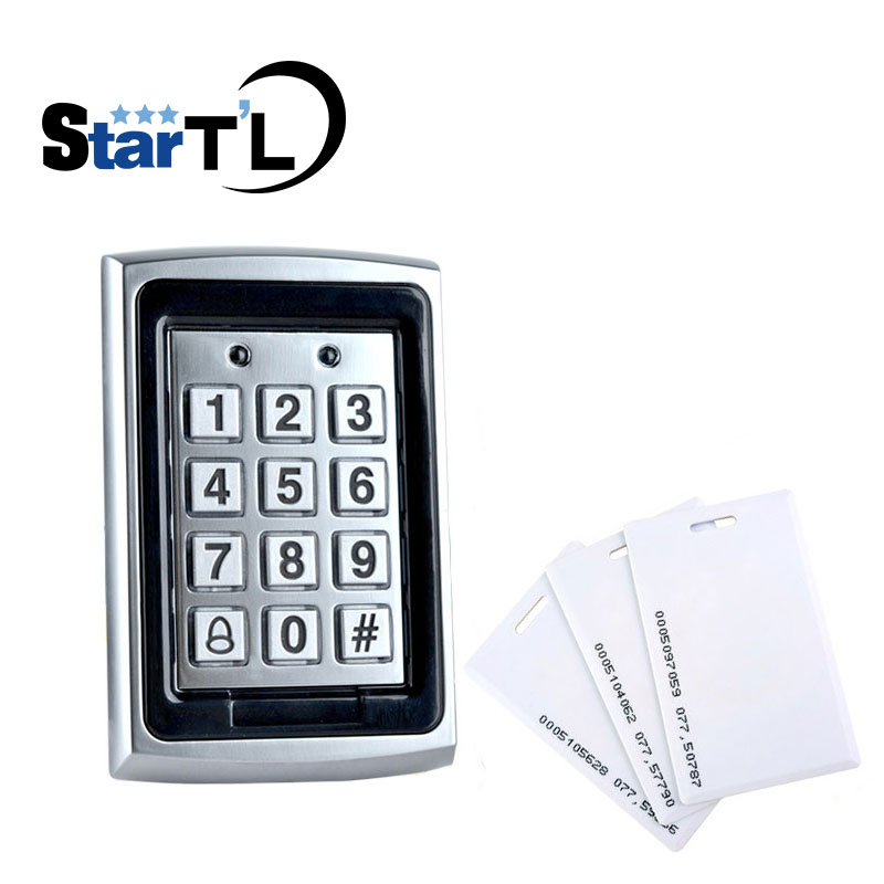 Free Shipping Metal Rfid Access Control Keypad Support 1000 Users 125KHz ID Card Reader+10 Piece 125khz RFID Card free shipping 125khz rfid