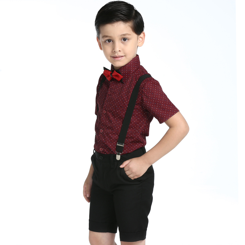 4pcs/Set 2017 Boys Clothing Sets Kids Suits Summer Boys Shirts Short Sleeve Wedding Clothes Kids Gentleman Leisure Handsome Suit summer kids baby boys gentleman suit white short sleeve polo shirt suspender trousers outfits fashion kids wedding clothing