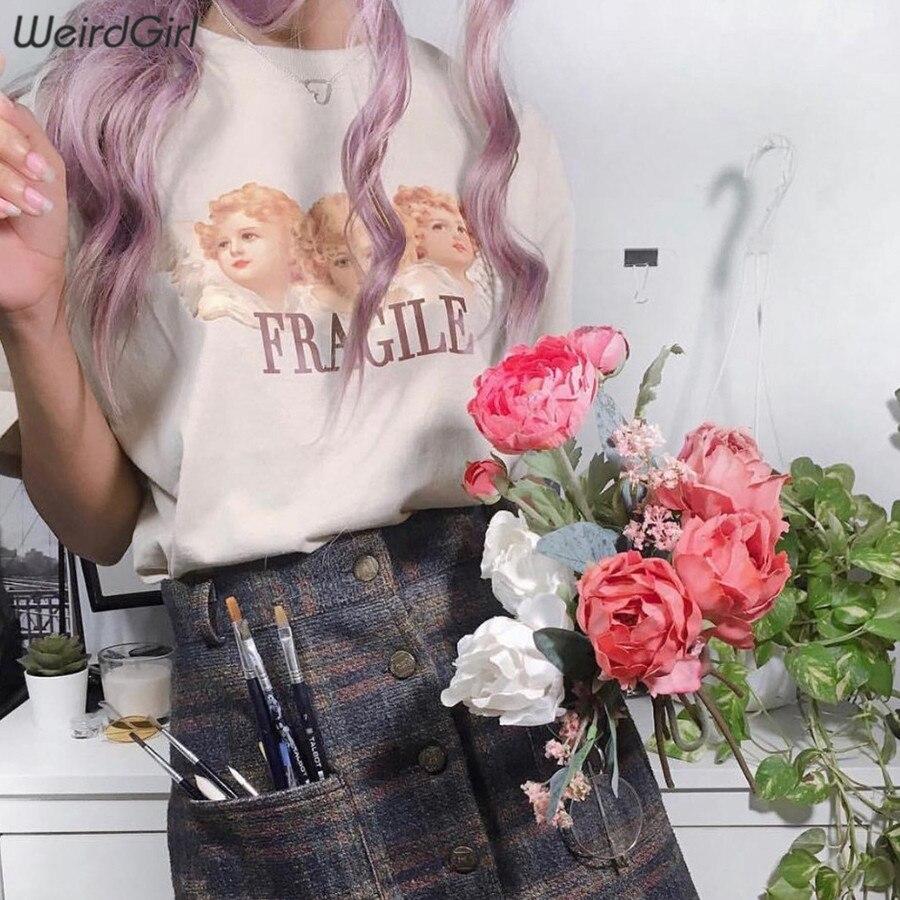 Weirdgirl Women Baby Angel Printing Casual Fashion T-shirts letter Short Sleeve O-Neck Khaki Loose Female Tees Summer New 19 18