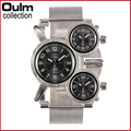 2016 New Oulm 1167 Luxury Watch Silver Full Stainless Steel 3 Time Zone Japanese Movement Quartz Military Army Men Wristwatches