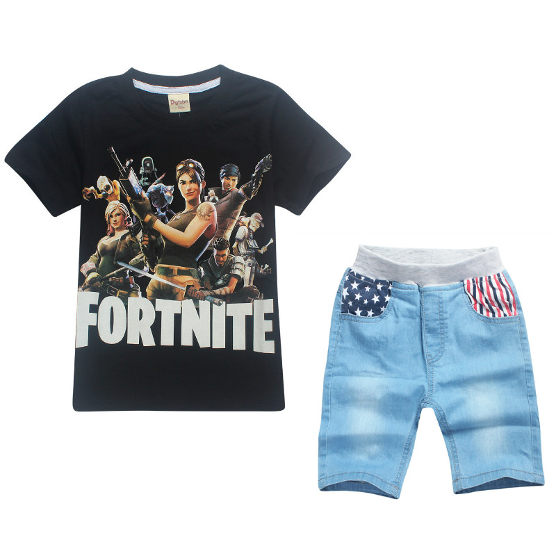 2018 Summer Boys Girls Fashion Game Fortnite Eat Chicken Pattern Clothing Children 3d T shirt+Jeans Star Flag Shorts Set Clothes
