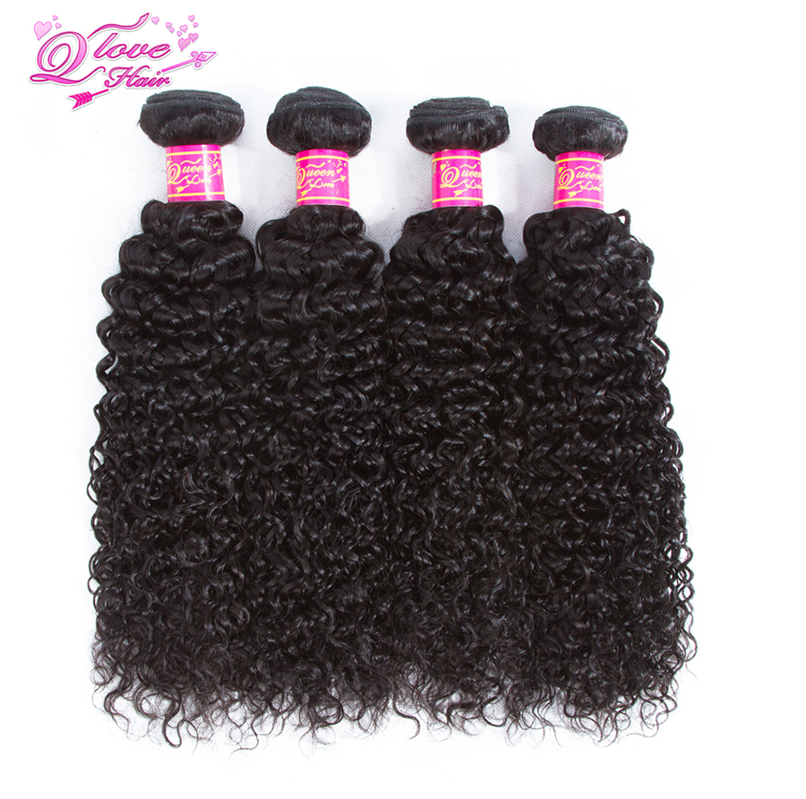 Queen Love Hair Kinky Curly Human Hair Wave 4 Bundles Remy Hair Natural Color Afro Curly Weave Extensions