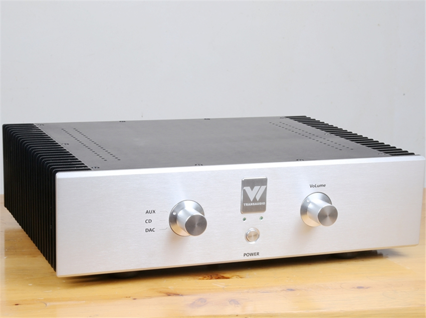QUEENWAY Hi-End Integrated Amplifier amp MBL6010 + X-amp circuit  100W * 2(8ohms) 200W * 2(4ohms)  AUX CD DAC input 3206 amplifier aluminum rounded chassis preamplifier dac amp case decoder tube amp enclosure box 320 76 250mm