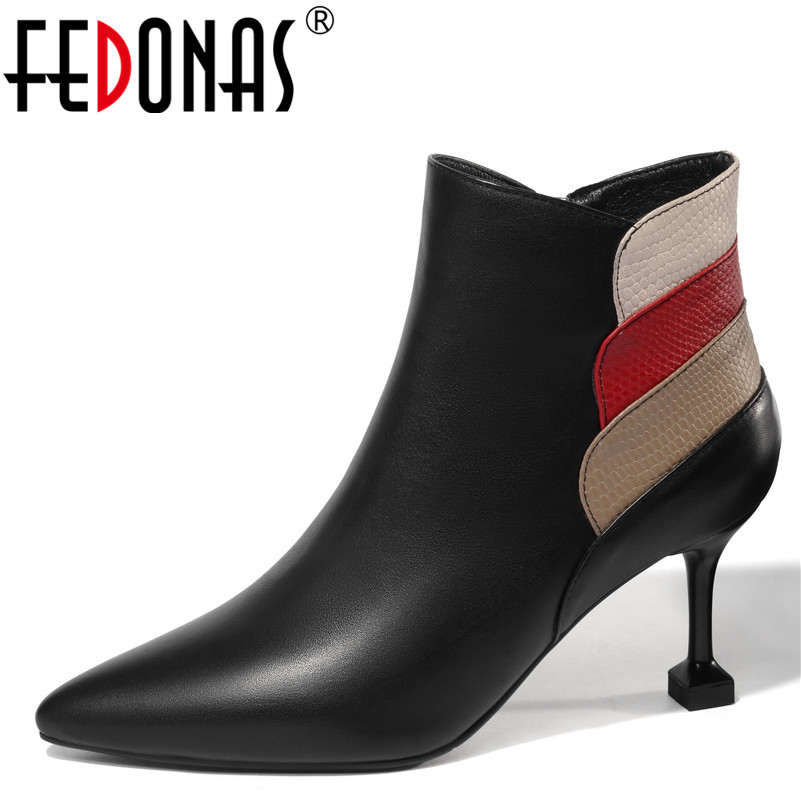 FEDONAS Fashion Women Ankle Boots Genuine Leather Autumn Winter Warm High Heels Shoes Woman Pointed Toe Office Lady Basic Boots 600g pair b cup artificial nipple breast forms silicone boobs fake for shemale crossdresser transgender chest enlarge lifelike