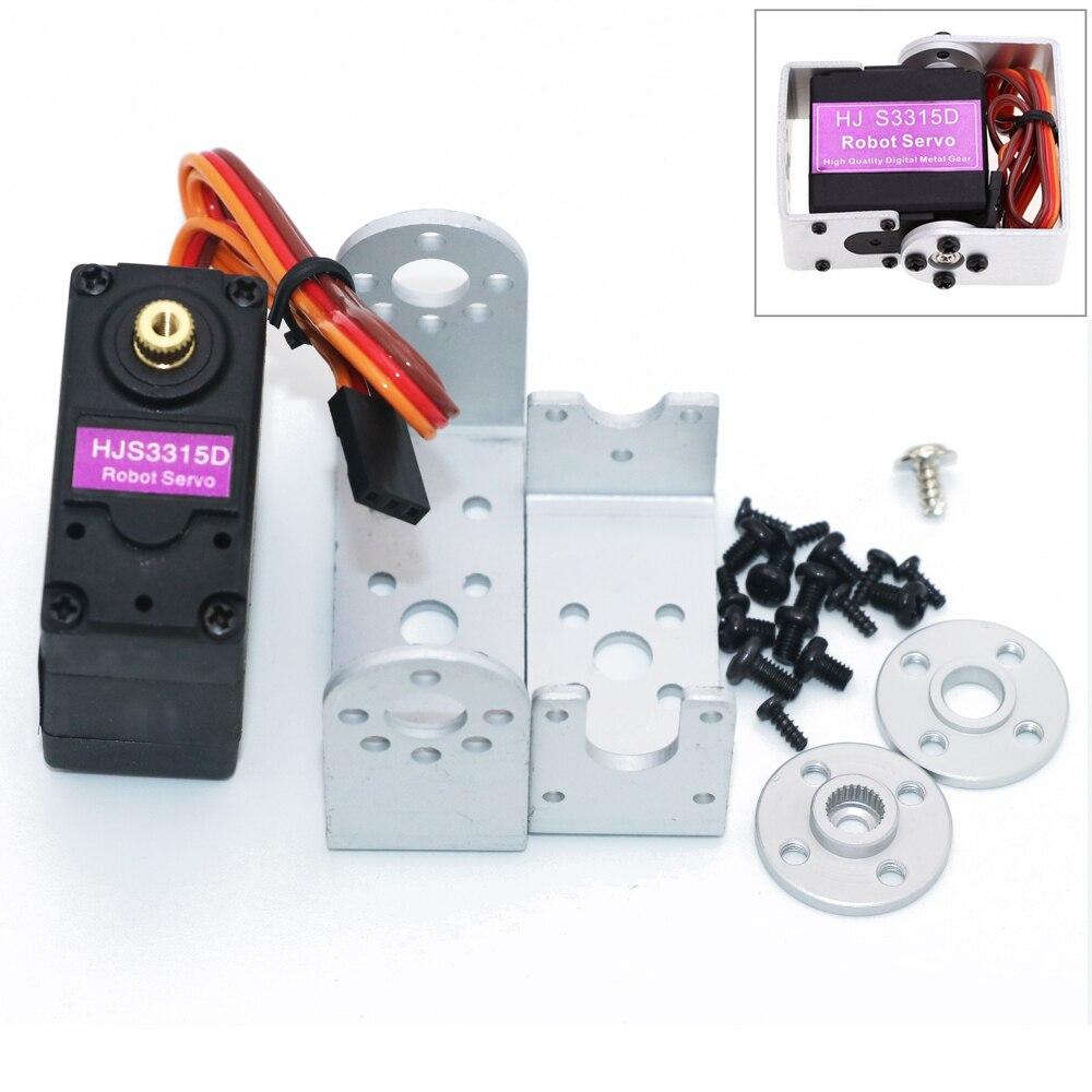 1 unids HJ S3315D metal 15 kg par motor cepillado 180 rotación digital robot RC servo con largo y corto recta u mouting