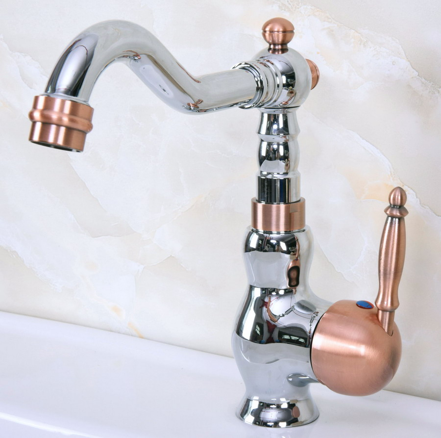 Red Kitchen Faucets: Polished Chrome Red Copper Brass Swivel Spout Single Lever