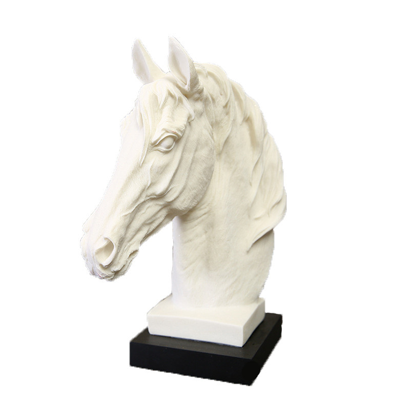 Continental Horse Head Statues White Sandstone Animal Sculpture Resin Art&Craft Home Decoration Accessories L3343Continental Horse Head Statues White Sandstone Animal Sculpture Resin Art&Craft Home Decoration Accessories L3343