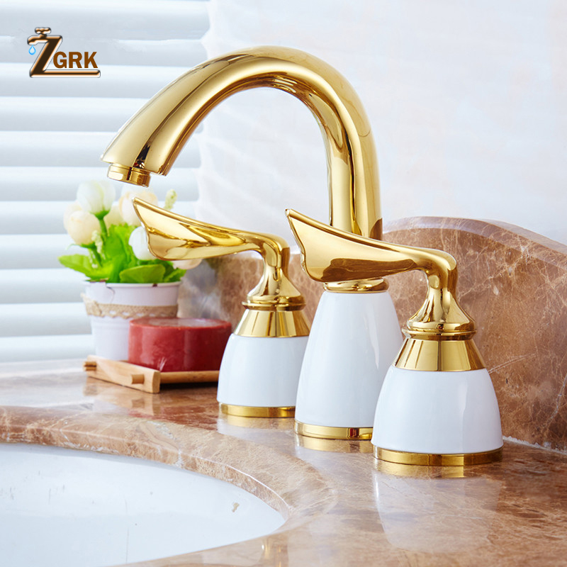 ZGRK Luxury 3 Pieces Set Bathtub Faucet Deck Mounted Gold Bathroom Tub Mixer 3 Holes Widespread Bath Faucet Set Sink Tap