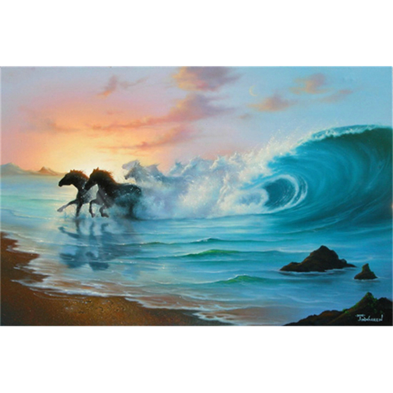 3D Diy Diamond Painting Cross Stitch Full Square Crystal Mosaic Embroidery Home Decoration crafts gift Wave & white horse A6663R
