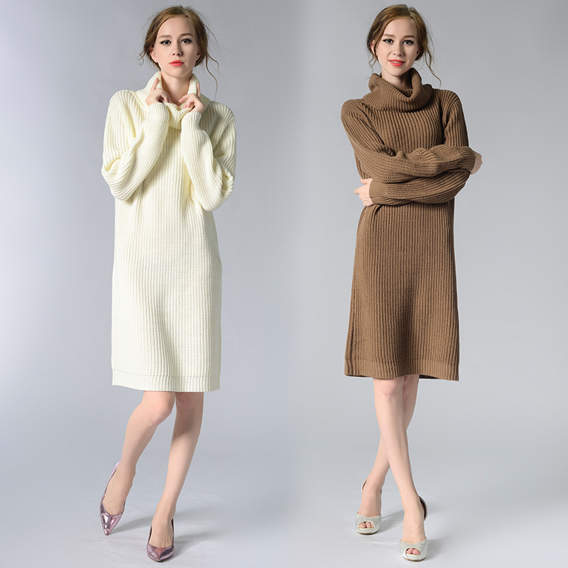 55ef3e0516 2018 Turtleneck Long Sweater autumn Winter Warm Sweater Women Jumpers  Pullovers Retro thick Knitted Sweaters YH7024 -in Pullovers from Women s  Clothing ...