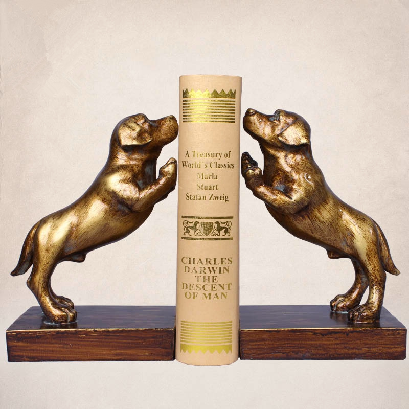 a Pair Creative Resin Dog Bookends Book Hold Office Supplies American Retro Rural Bookends Gift цена