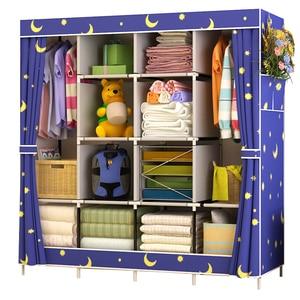 Image 1 - Non woven Cloth Wardrobe Closet Large Wardrobe Multifunction Dustproof Storage Cabinet Folding Fabric Wardrobe Bedroom Furniture