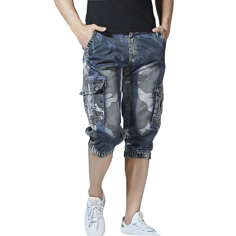 MISNIKI 2019 Men Summer Multi-pocket Camouflage Mens Shorts Casual Loose Knee-length Mens Cargo Shorts 30-40 AXP82