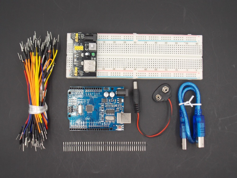 starter Kit Uno R3 MB-102 830 points Breadboard, 65 Flexible jumper wires , USB Cable and 9V Battery Connectorstarter Kit Uno R3 MB-102 830 points Breadboard, 65 Flexible jumper wires , USB Cable and 9V Battery Connector