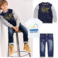 2016 new boy 3pcs suit autumn coat+ t-shirt + jeans clothes set baby boy clothes sports suit 2-6Y children clothes