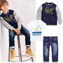2016 new boy 3pcs suit autumn coat t shirt jeans clothes set baby boy clothes sports