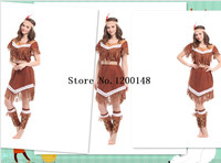 Indian Costume Women Adult Fancy Dress Halloween Cosplay Costume Aboriginals Cosplay Costume