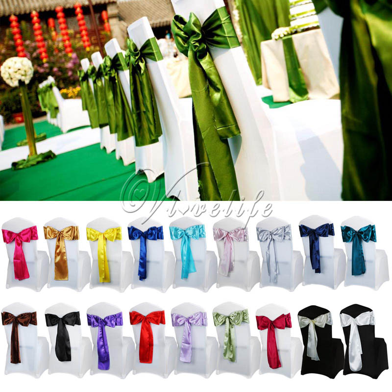 50Pcs 6 x 108 Satin Chair Sash Bow Ties For Banquet Wedding Party Butterfly Craft Chair