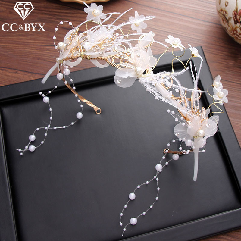 CC Headbands Hairbands Crown Tiara Fairy Feather Flower Engagement Wedding Hair Accessories For Bridal Handmade Jewelry XY126 цена 2017