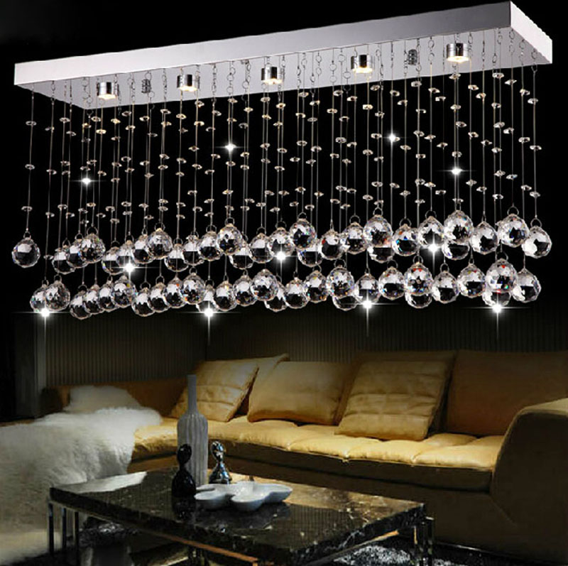 Restaurant chandelier modern simple crystal lamp LED rectangular bar living room dining hall aisle lights turn off the lights gold color simple brief 5w crystal chandelier led lamp for home aisle meeting room bar cloth shops 5w chandelier 6000k 2800k