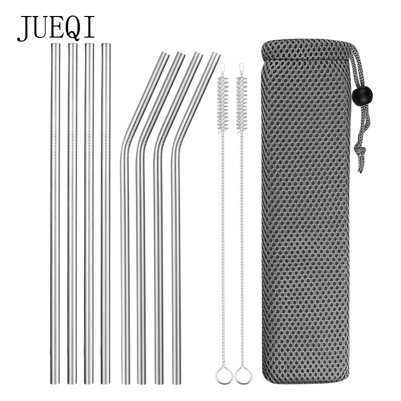 Home & Garden Other Dessert Tools Helpful Reusable Metal Drinking Straws Stainless Steel Sturdy Bent Straight Drinks Straw With Cleaning Brush Bar Party Accessory