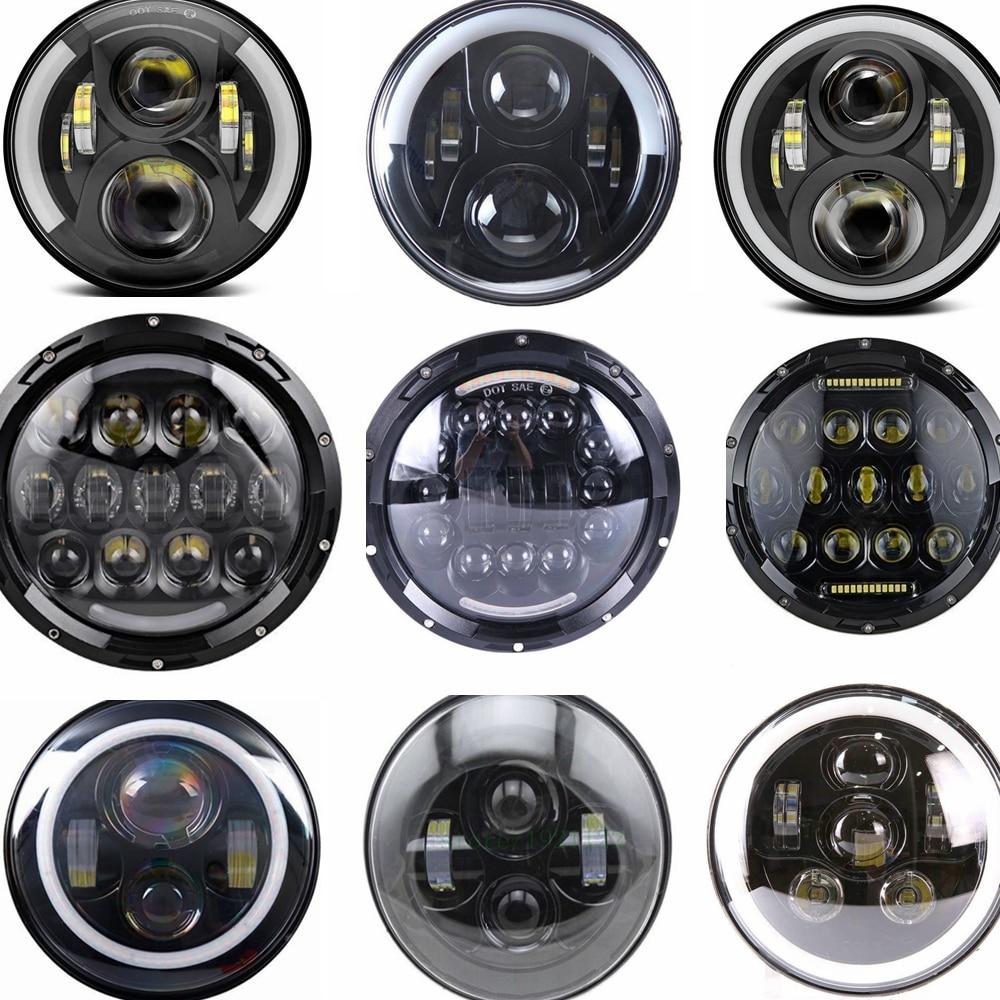 Round 7 LED fog Headlight 7 H4 Hi low Headlight Headlamp LED Halo Angel Eyes Light