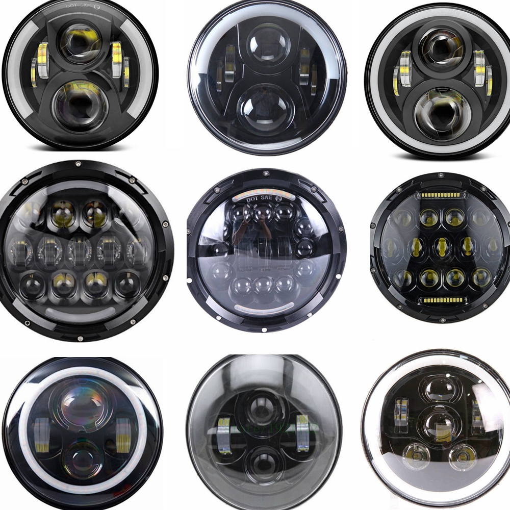 Round 7 LED fog Headlight 7 H4 Hi/low Headlight Headlamp LED Halo Angel Eyes Light Bulbs For lada niva 4x4