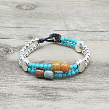 Youga Vintage Silver Alloy Bead Bracelet 3mm Synthetic stone and tambour natural leather bohemian jewelry
