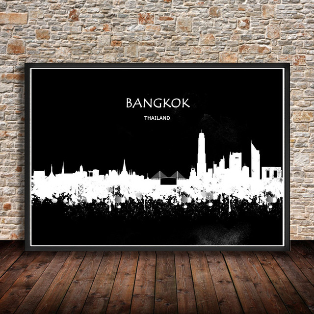 Bangkok thailand abstract watercolor city building art prints wall stickers painting poster house decor living room
