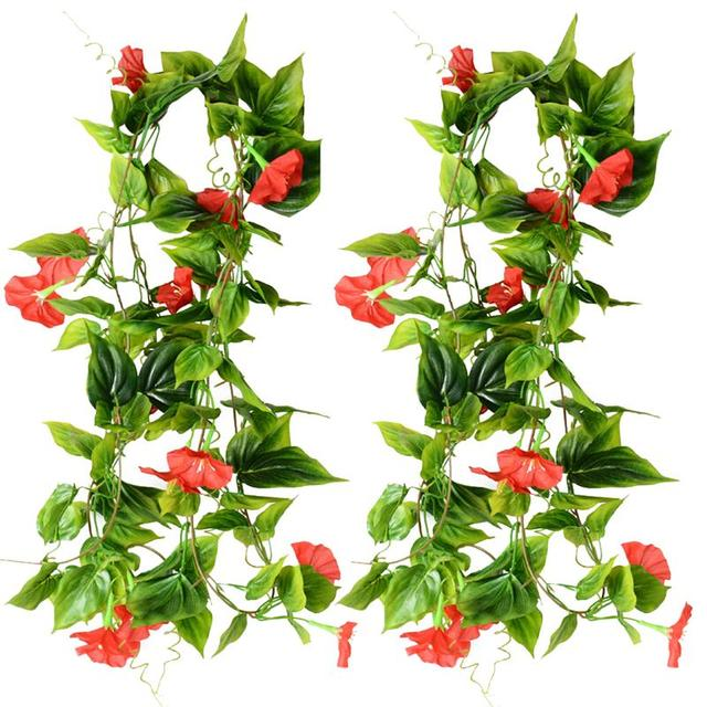 2pcs Artificial Vines Morning Glory Hanging Green Plants Silk Garland Home  Garden Wall Fence Wedding Hanging
