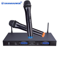 Latest UHF 2channels digital wireless microphone system with 2 handheld mikes made in China SU 200A cordless megaphone mic