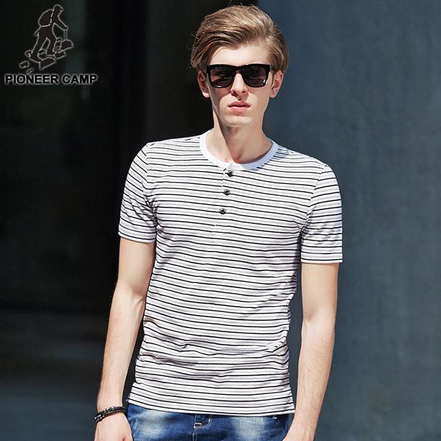 Pioneer camp frete grátis! 2017 de moda de nova mens t camisa listrada verão elástico camisa de algodão masculino camisetas casual wear