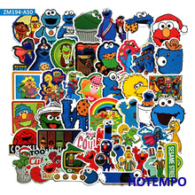 50pcs Lovely Sesame Street Cute Stickers for DIY Mobile Phone Laptop Luggage Suitcase Skateboard Bike Waterproof Decal