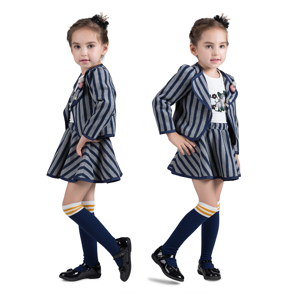 100% Cotton Autumn Winter Dark Blue Striped Princess Dress Suit Long Sleeves Coat 2pcs Warm Baby Girls Clothing Set napapijri guji check dark blue