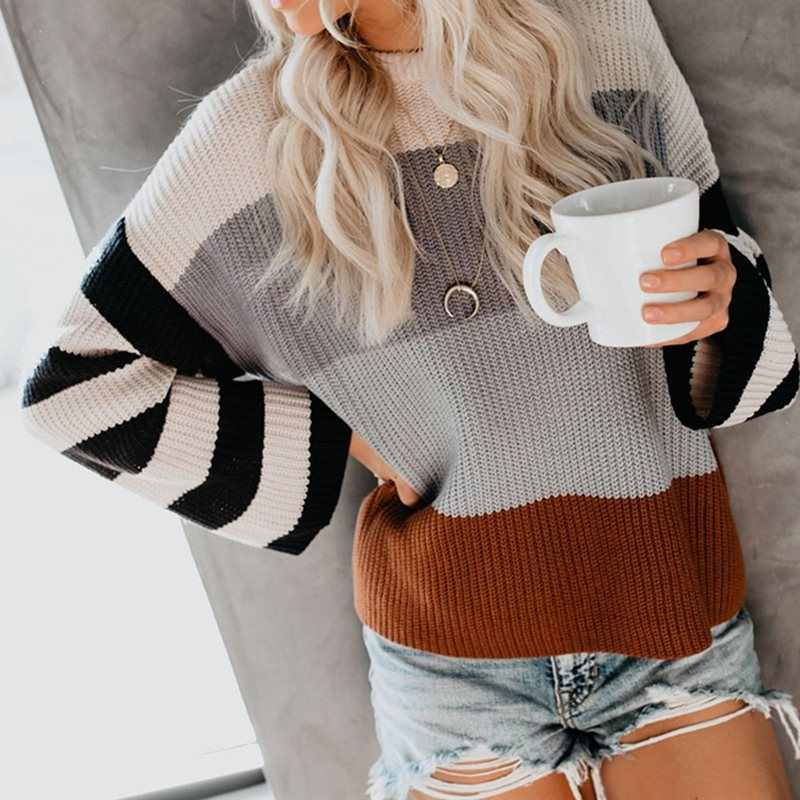 Fall Elegant Casual Boho Plus Size African Fashion Sweaters Women Pink Loose Thin Stripe Gray Female Fashion Travel 2019 Tops