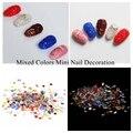 Glitter de Várias Cores Mini 3D Nails Art Decoração Muitos Tamanhos De Cristal Pedrinhas Pointback Rodada Cola Em Pedras de Vidro Micro DIY