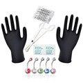 15x PRO 14G Body Piercing Kit Aguja Botón Del Ombligo Del Vientre Anillo de cristal Pinza Herramienta Joyería Piercing Agujas Kits De Cuerpo joyería