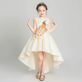 Children Girls Fashion Embroidery Champagne Birthday Evening Party Tail Dress Kids Baby Elegant Piano Pageant Host Costume Dress