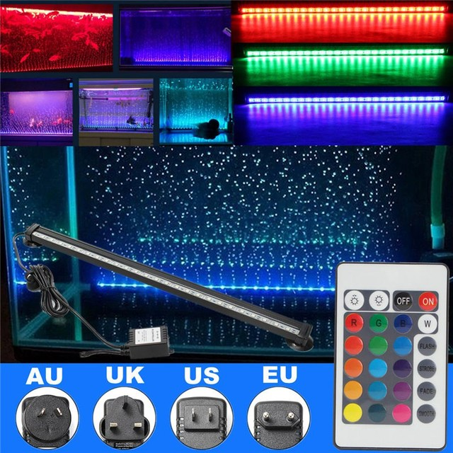46cm IP68 RGB LED Light Bulb Tube 5W Bubble Fish Tank Aquarium Lamp Lighting 27 SMD Light Strip Submersible with Remote Control