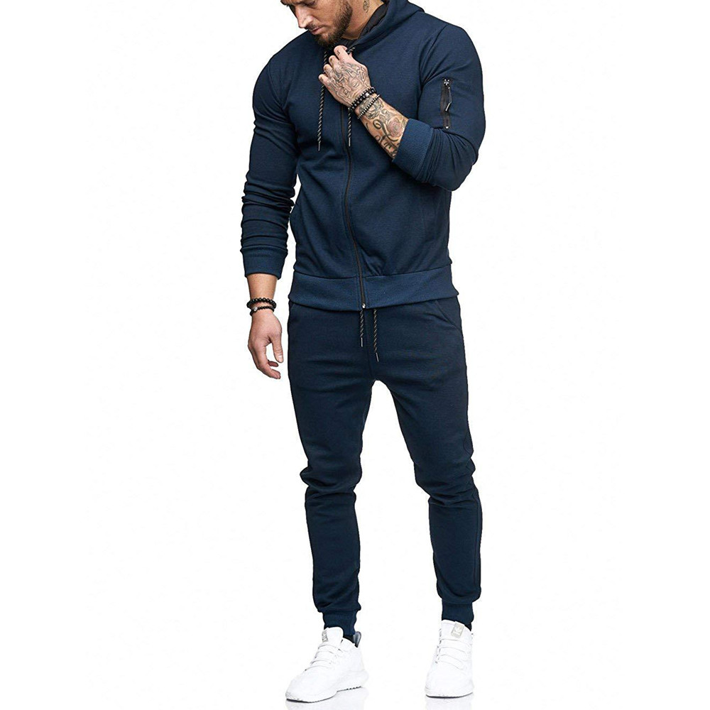 2019 Men's  Gym Tracksuit Long Sleeve Hoodie Trouser Set Men Drawstring Jogging Pants Solid Casual Sport Suit For Man D40