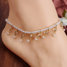 1pcs vintage sweet simulated pearl anklets for women fashion bijoux elastic crystal anklet bracelet feet jewelry free delivery
