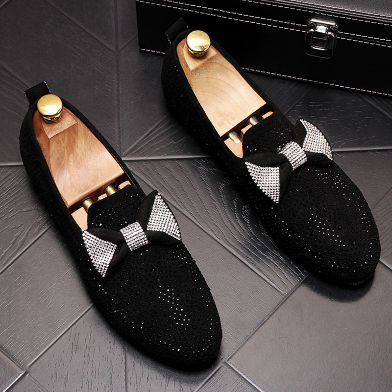 new design men's luxury fashion rhinestone cow leather shoes tie knot slip-on lazy shoe nightclub banquet dresses loafers sapato 1