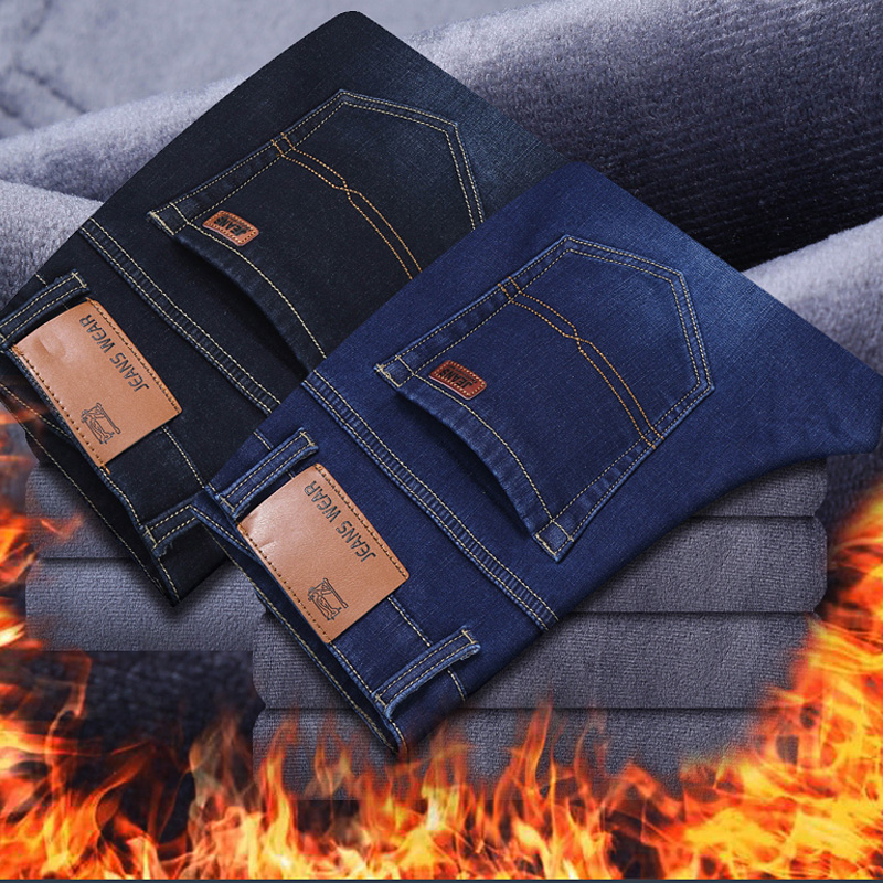 Warm Jeans Winter Men Men'S Homme Vaqueros Hombre Jean Baqueros Mens Pants Biker Streetwear Fashion Fitted Net Red High Quality