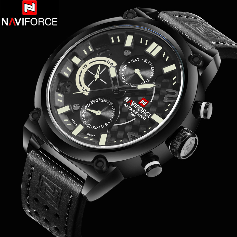 New Luxury Top Brand Men Leather Strap Military Watches Men's Quartz 6 Dial Clock Male Sports Wrist Watch Relogio Masculino 2016 new weide luxury brand quartz watches men dual time oversize clock men sports military leather strap fashion wrist watch